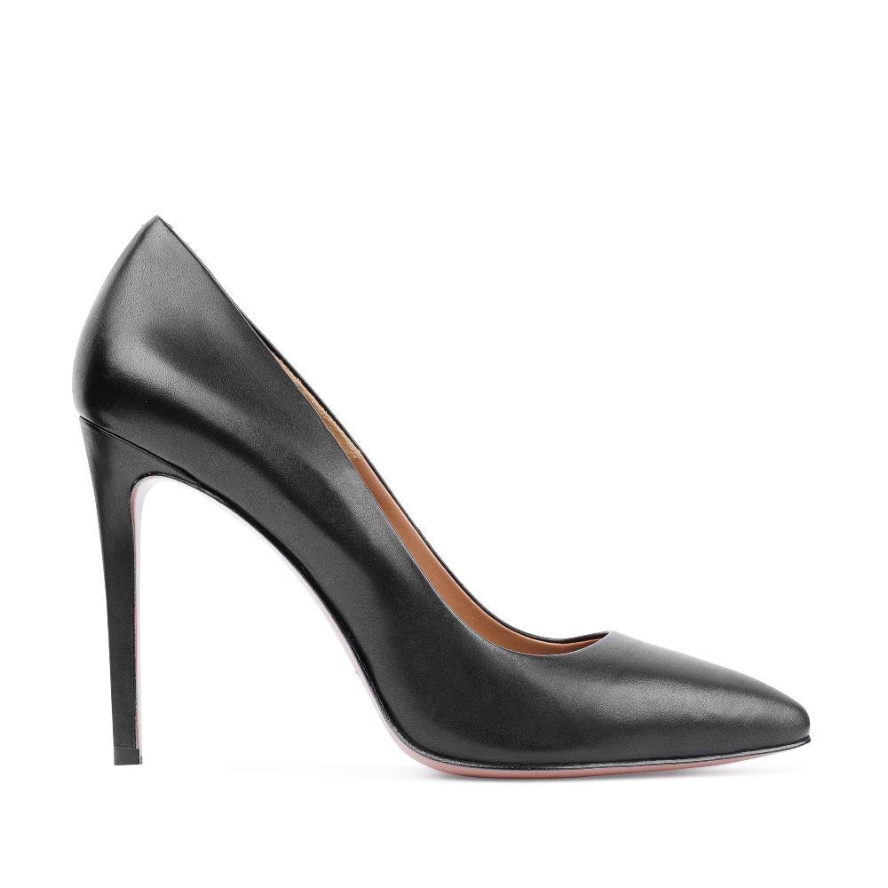 Туфли-лодочки из кожи черного цветаТуфли<br><br>Материал верха: Кожа<br>Материал подкладки: Кожа<br>Материал подошвы: Кожа<br>Цвет: Черный<br>Высота каблука: 11 см<br>Дизайн: Италия<br>Страна производства: Китай<br><br>Высота каблука: 11 см<br>Материал верха: Кожа<br>Материал подкладки: Кожа<br>Цвет: Черный<br>Пол: Женский<br>Вес кг: 460.00000000<br>Выберите размер обуви: 39