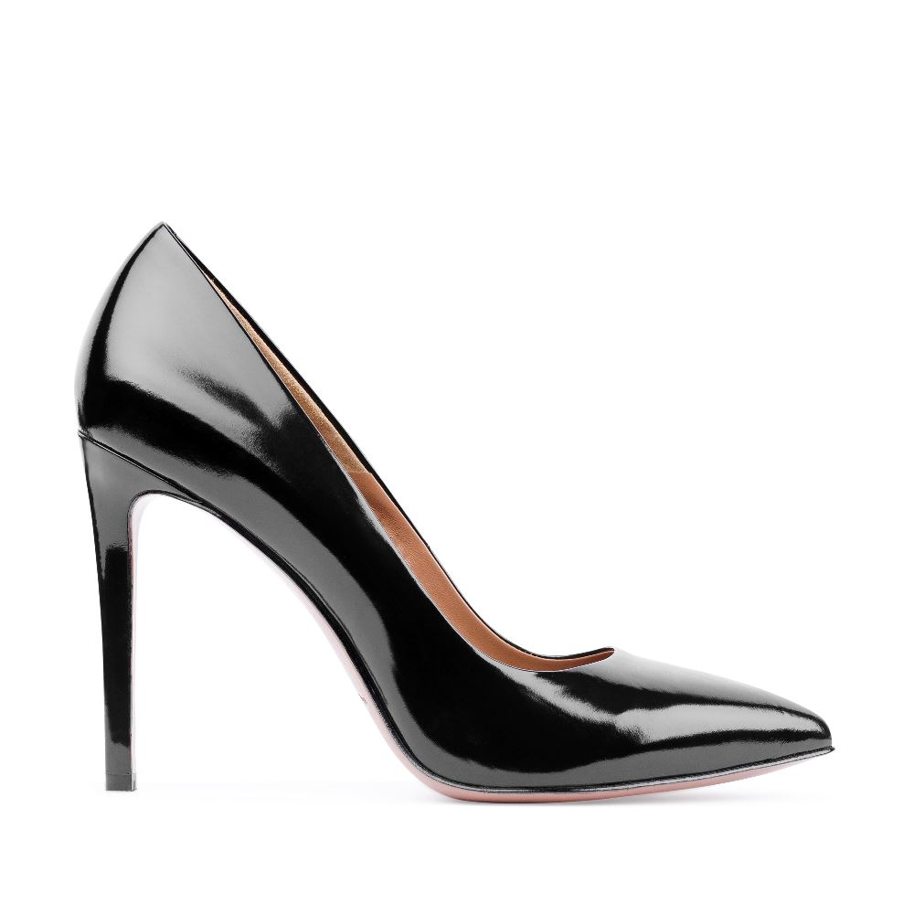 Туфли-лодочки из лакированной кожи черного цветаТуфли<br><br>Материал верха: Лакированная кожа<br>Материал подкладки: Кожа<br>Материал подошвы: Кожа<br>Цвет: Черный<br>Высота каблука: 11 см<br>Дизайн: Италия<br>Страна производства: Китай<br><br>Высота каблука: 11 см<br>Материал верха: Лакированная кожа<br>Материал подкладки: Кожа<br>Цвет: Черный<br>Пол: Женский<br>Вес кг: 460.00000000<br>Размер: 38.5