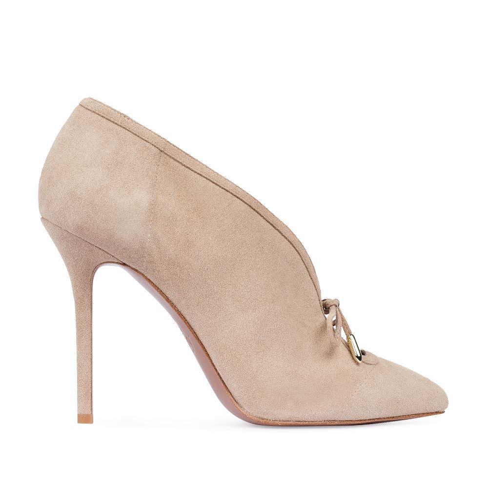 Туфли замшевые бежевого цвета на высоком каблуке 17-926-01-33-25