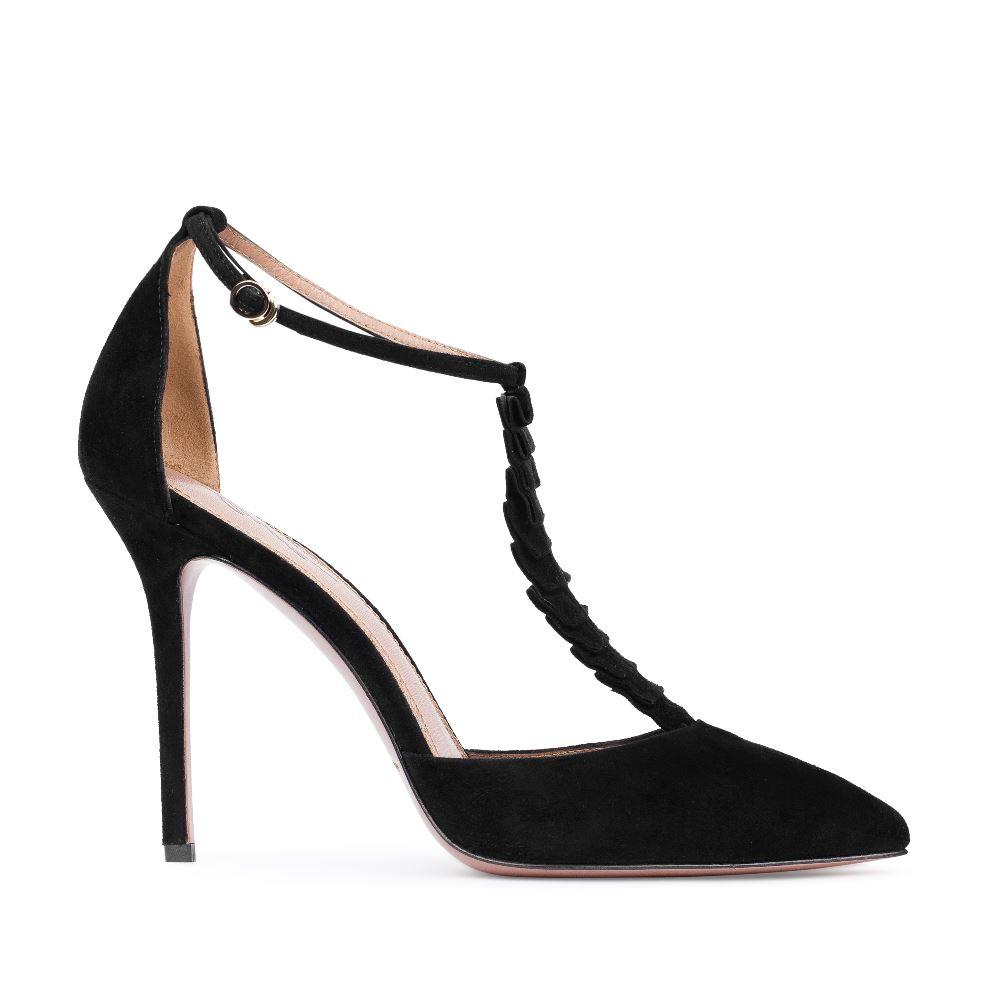 Туфли из замши черного цвета с декоративными оборкамиТуфли женские<br><br>Материал верха: Замша<br>Материал подкладки: Кожа<br>Материал подошвы:Кожа<br>Цвет: Черный<br>Высота каблука: 10 см<br>Дизайн: Италия<br>Страна производства: Китай<br><br>Высота каблука: 10 см<br>Материал верха: Замша<br>Материал подошвы: Кожа<br>Материал подкладки: Кожа<br>Цвет: Черный<br>Вес кг: 1.00000000<br>Выберите размер обуви: 38.5