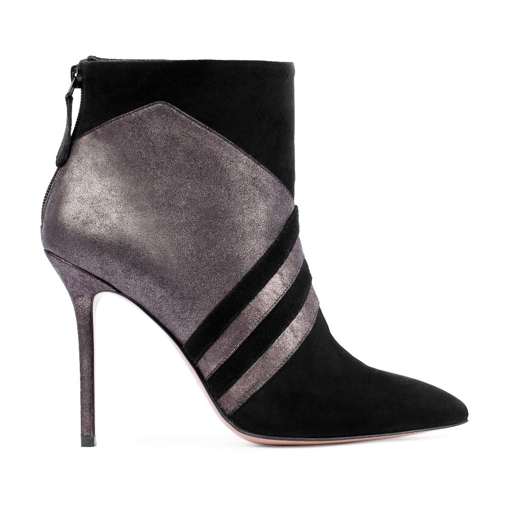 Ботильоны из металлизированной кожи и замши на высоком каблукеБотинки женские<br><br>Материал верха: Кожа<br>Материал подкладки: Текстиль<br>Материал подошвы: Кожа<br>Цвет: Серый<br>Высота каблука: 10 см<br>Дизайн: Италия<br>Страна производства: Китай<br><br>Высота каблука: 10 см<br>Материал верха: Кожа<br>Материал подошвы: Кожа<br>Материал подкладки: Текстиль<br>Цвет: Серый<br>Вес кг: 1.00000000<br>Размер обуви: 38.5
