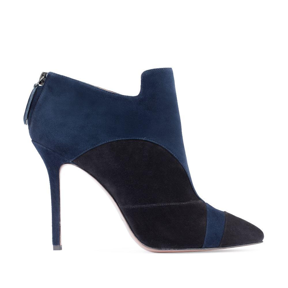Ботильоны синего цвета из замши на высоком каблуке