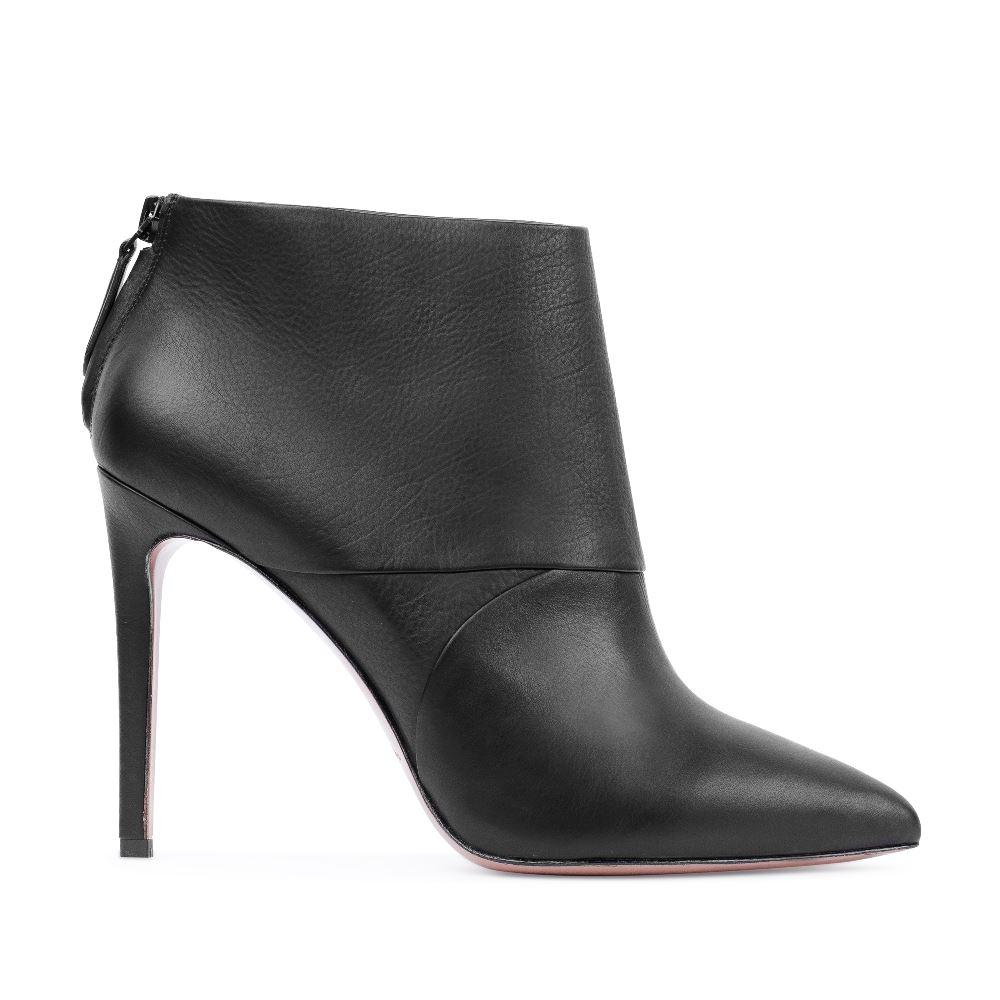 Ботильоны черного цвета из кожи на высоком каблуке