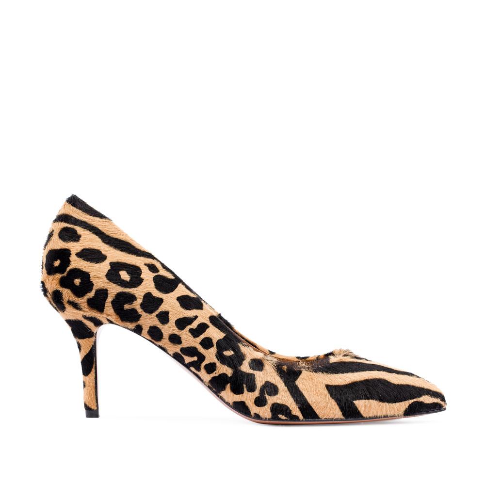 Туфли-лодочки с анималистичным принтом из меха пони на среднем каблуке