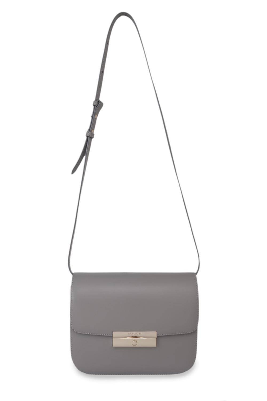 Кожаная сумка серого цвета на длинном ремне, Серый