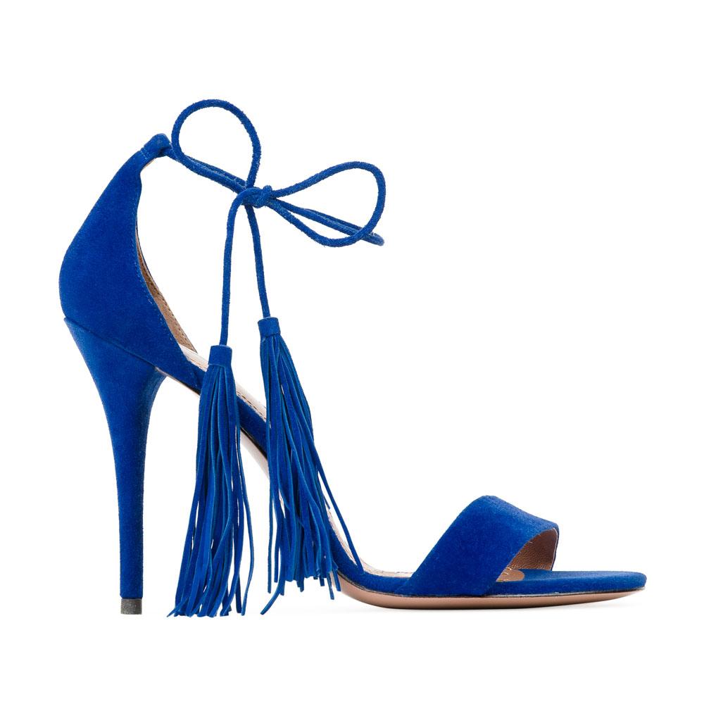 Босоножки из замши цвета электрик на завязках, декорированных бахромойТуфли женские<br><br>Материал верха: Замша<br>Материал подкладки: Кожа<br>Материал подошвы: Кожа<br>Цвет: Синий<br>Высота каблука: 10 см<br>Дизайн: Италия<br>Страна производства: Китай<br><br>Высота каблука: 10 см<br>Материал верха: Замша<br>Материал подкладки: Кожа<br>Цвет: Синий<br>Вес кг: 0.38000000<br>Выберите размер обуви: 37.5**