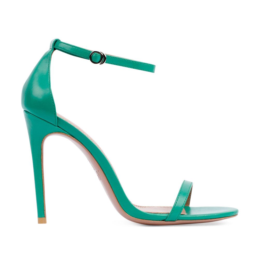 Босоножки из кожи бирюзового цвета на среднем каблуке 19-351-1-50-65