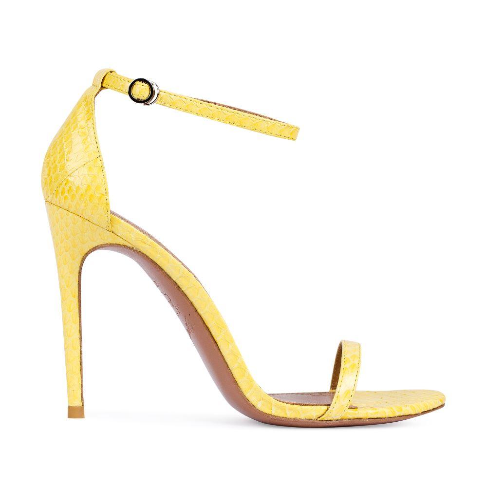 Босоножки канареечного цвета из кожи змеиБосоножки женские<br><br>Материал верха: Кожа змеи<br>Материал подкладки: Кожа<br>Материал подошвы: Кожа<br>Цвет: Желтый<br>Высота каблука: 11 см<br>Дизайн: Италия<br>Страна производства: Китай<br><br>Высота каблука: 11 см<br>Материал верха: Кожа змеи<br>Материал подкладки: Кожа<br>Цвет: Желтый<br>Вес кг: 0.38800000<br>Размер обуви: 39