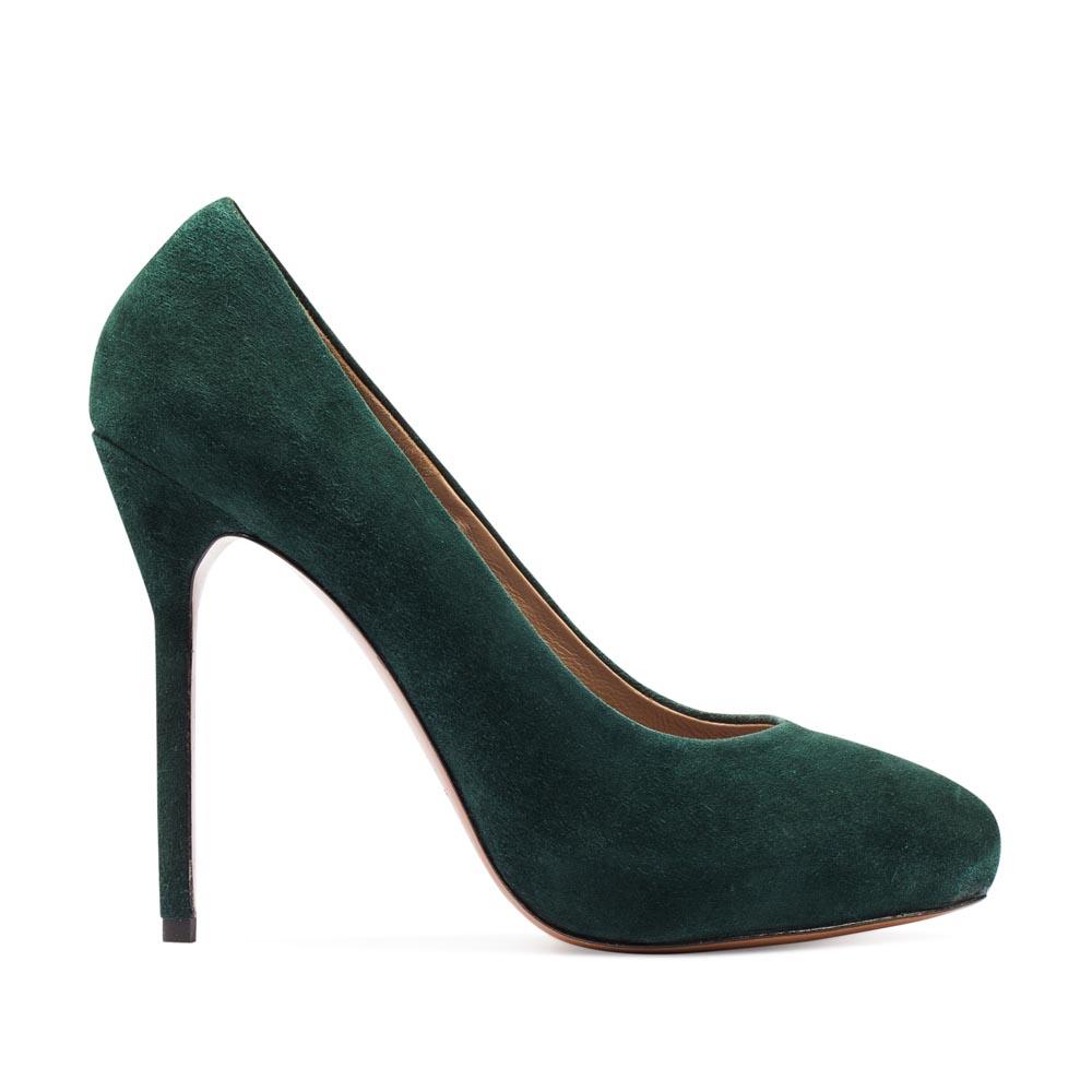Туфли из замши изумрудного цвета