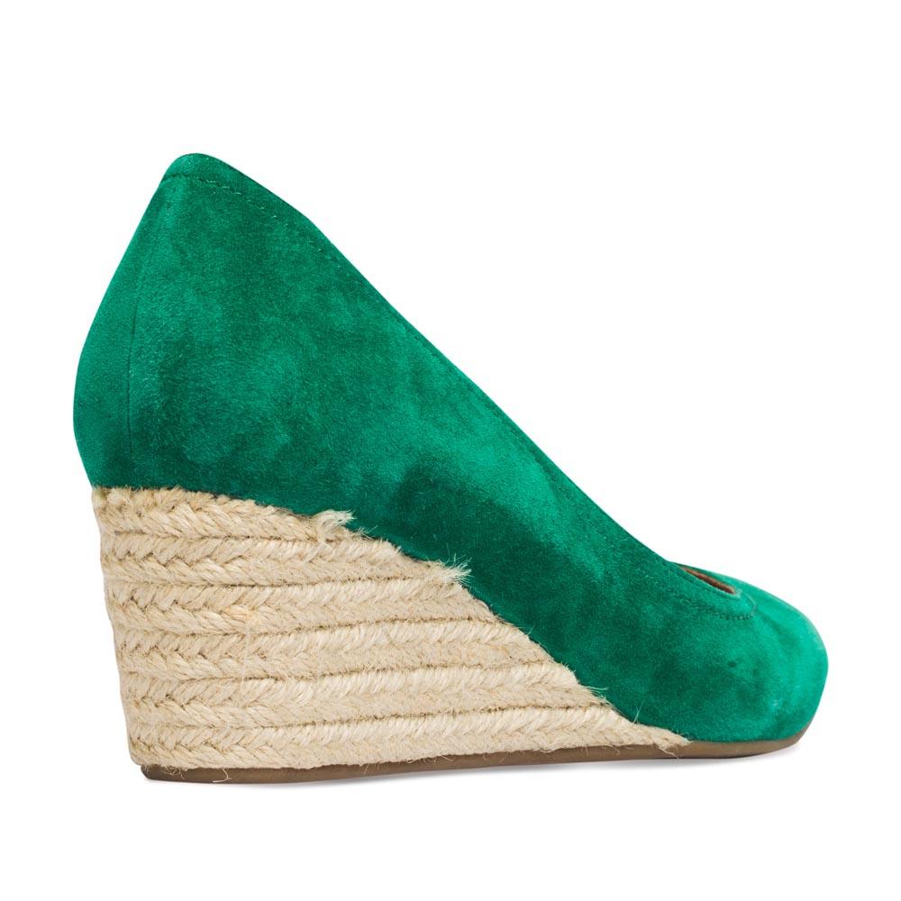 Женские туфли CorsoComo (Корсо Комо) Туфли из замши изумрудного цвета на джутовой танкетке