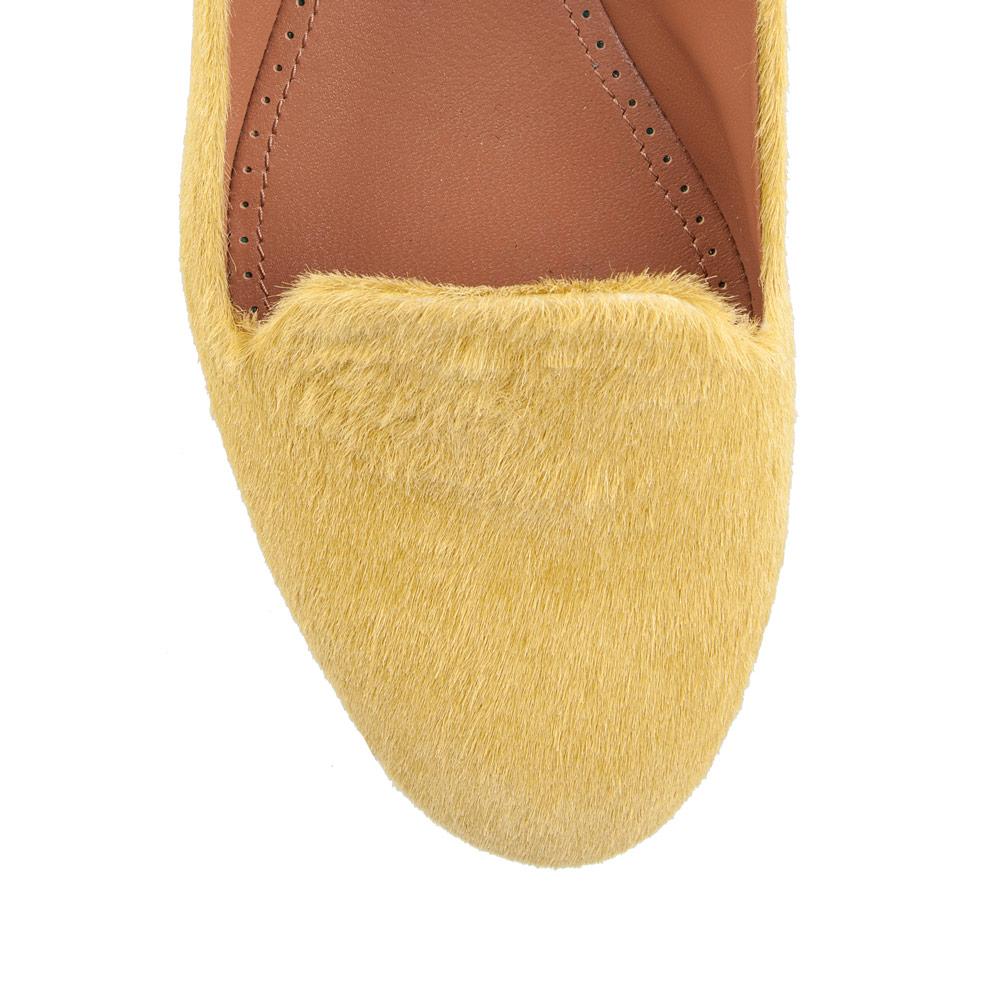 Туфли на плоской подошве CorsoComo (Корсо Комо) Слиперы из меха пони лимонно-желтого цвета