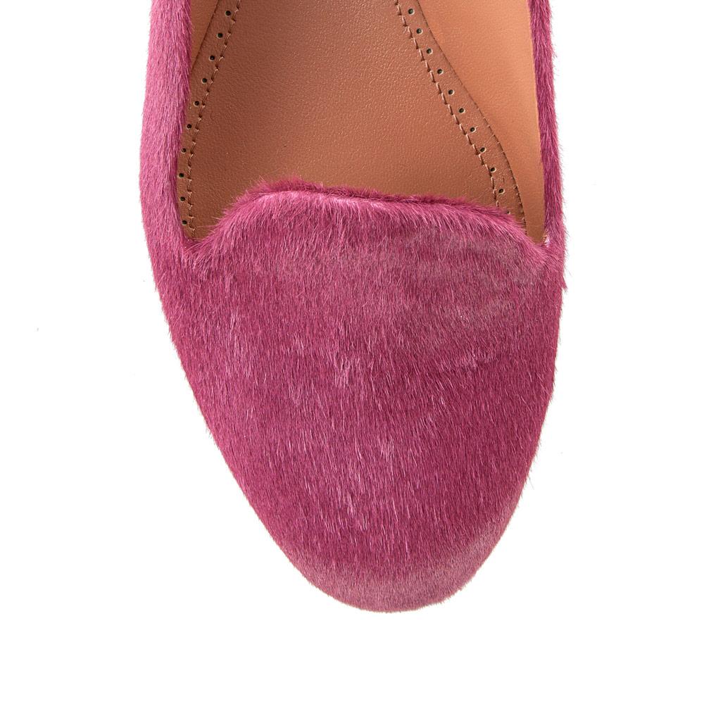 Туфли на плоской подошве CorsoComo (Корсо Комо) Слиперы из меха пони цвета фуксии