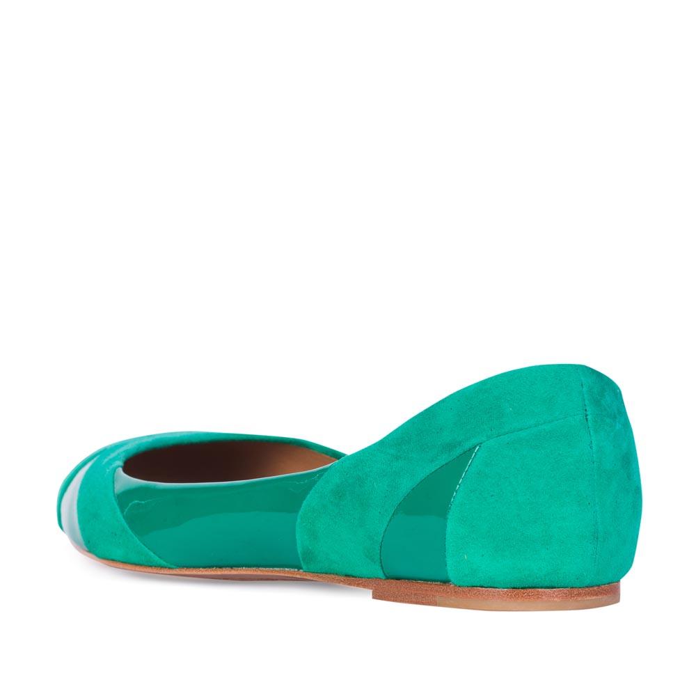 Женские балетки CorsoComo (Корсо Комо) 19-555-58-35 к.п. Туфли жен велюр зелен.