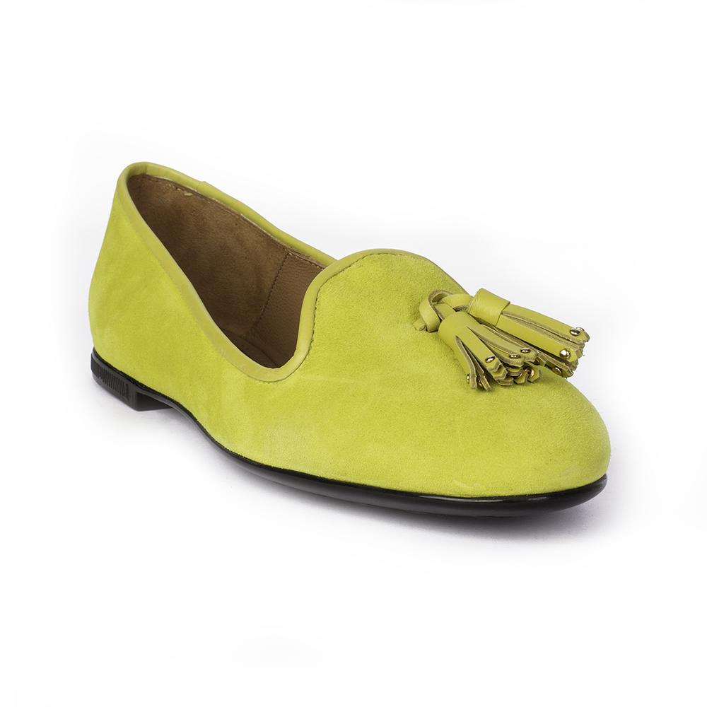 Туфли на плоской подошве CorsoComo (Корсо Комо) Слиперы из замши неоново-желтого цвета с кисточками