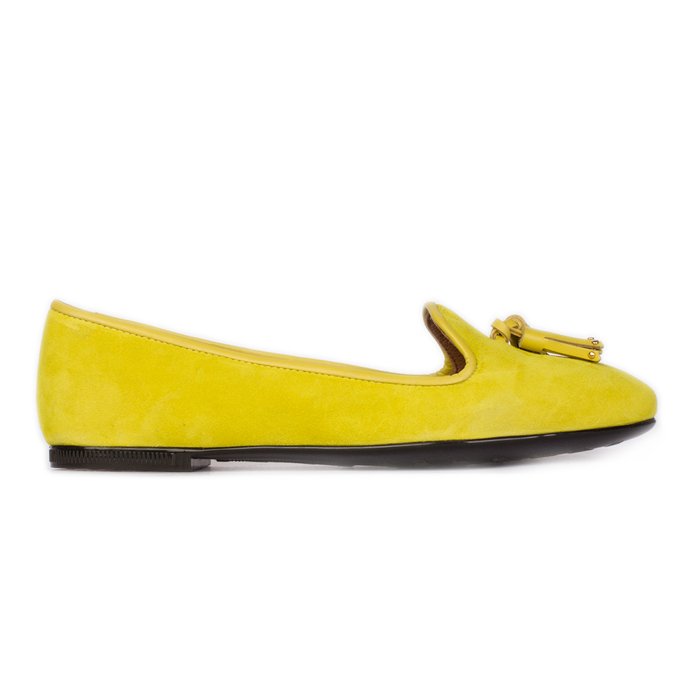 Слиперы из замши неоново-желтого цвета с кисточками