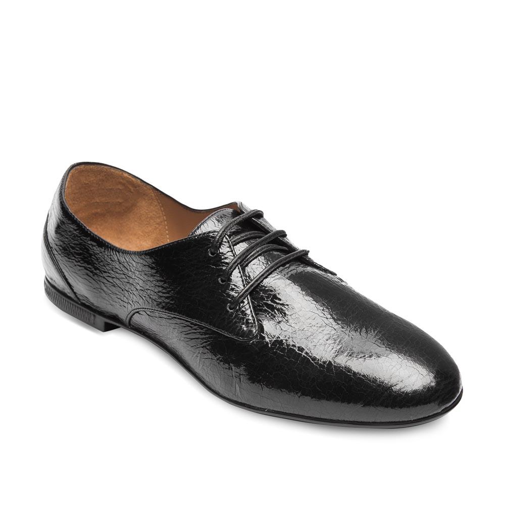 Женские ботинки CorsoComo (Корсо Комо) Полуботинки из лакированной фактурной кожи черного цвета
