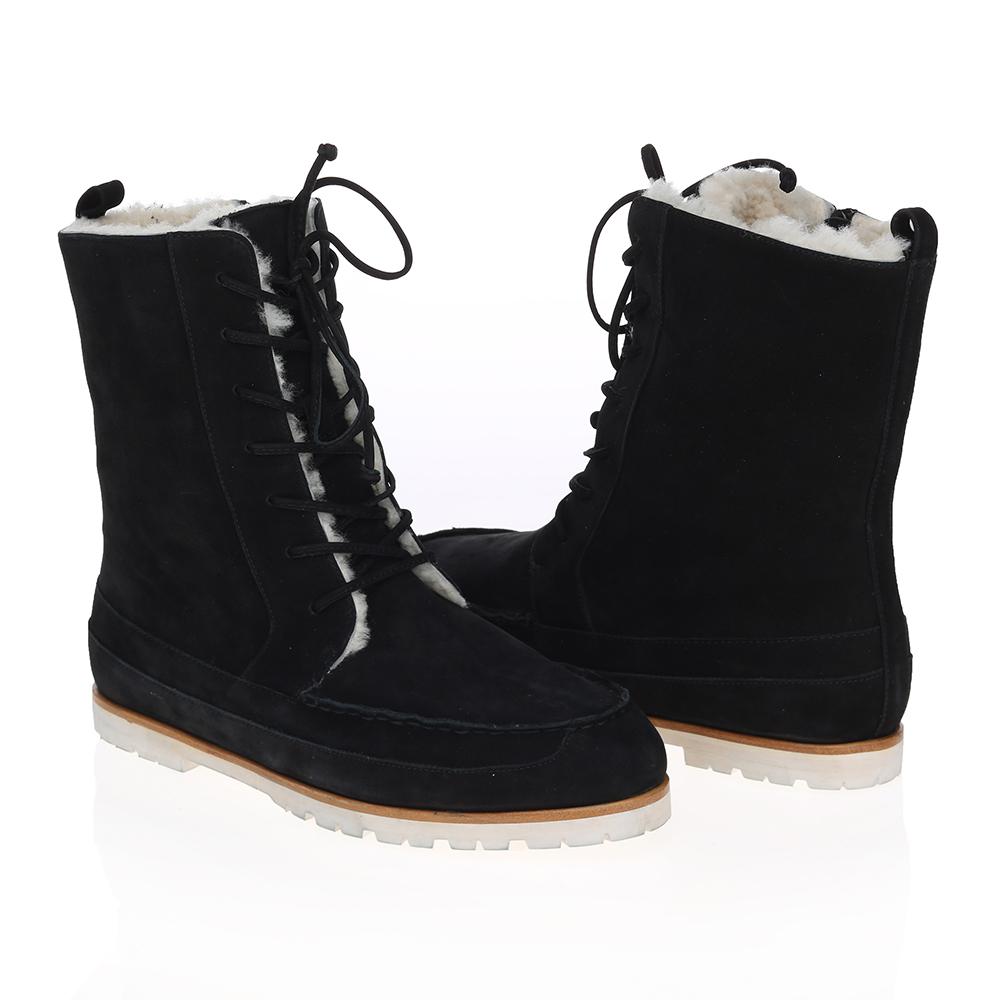 Высокие ботинки из нубука черного цвета с мехом