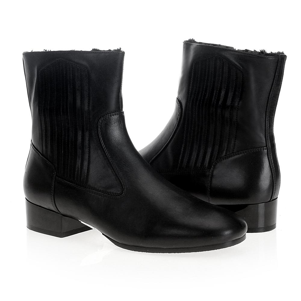 Сапоги на каблуке CorsoComo (Корсо Комо) 19-572-702-22 мех Ботинки жен кожа черн.