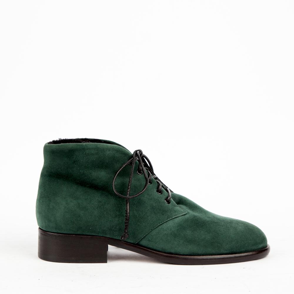 Ботинки из замши изумрудного цвета
