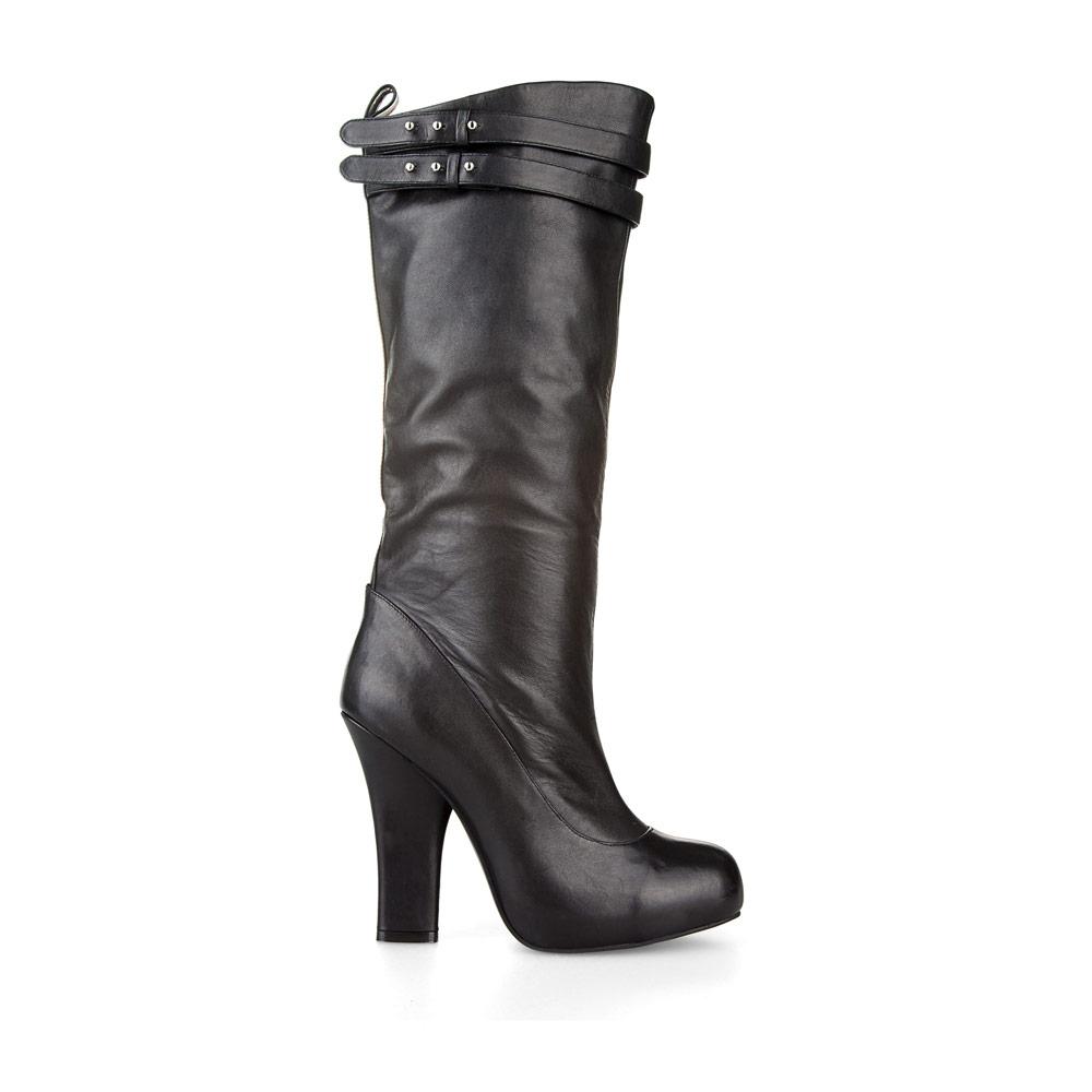 Кожаные сапоги на широком каблуке черного цветаСапоги женские<br><br>Материал верха: Кожа<br>Материал подкладки: Кожа<br>Материал подошвы: Полиуретан<br>Цвет: Черный<br>Высота каблука: 11 см<br>Дизайн: Италия<br>Страна производства: Китай<br><br>Высота каблука: 11 см<br>Материал верха: Кожа<br>Материал подкладки: Кожа<br>Цвет: Черный<br>Пол: Женский<br>Вес кг: 1.68000000<br>Выберите размер обуви: 36.5