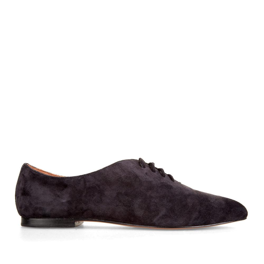 Замшевые полуботинки черничного цвета на шнуровке