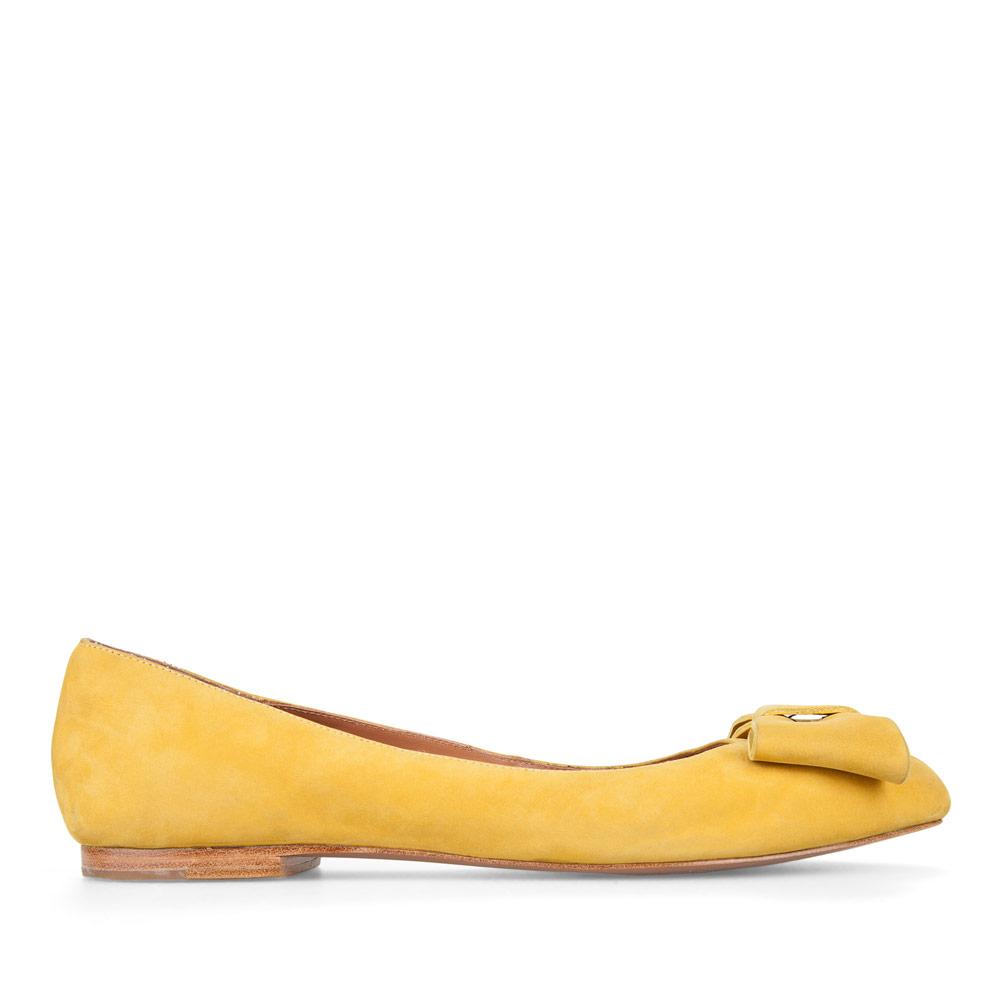 Балетки из нубука солнечно-желтого цвета с бантом