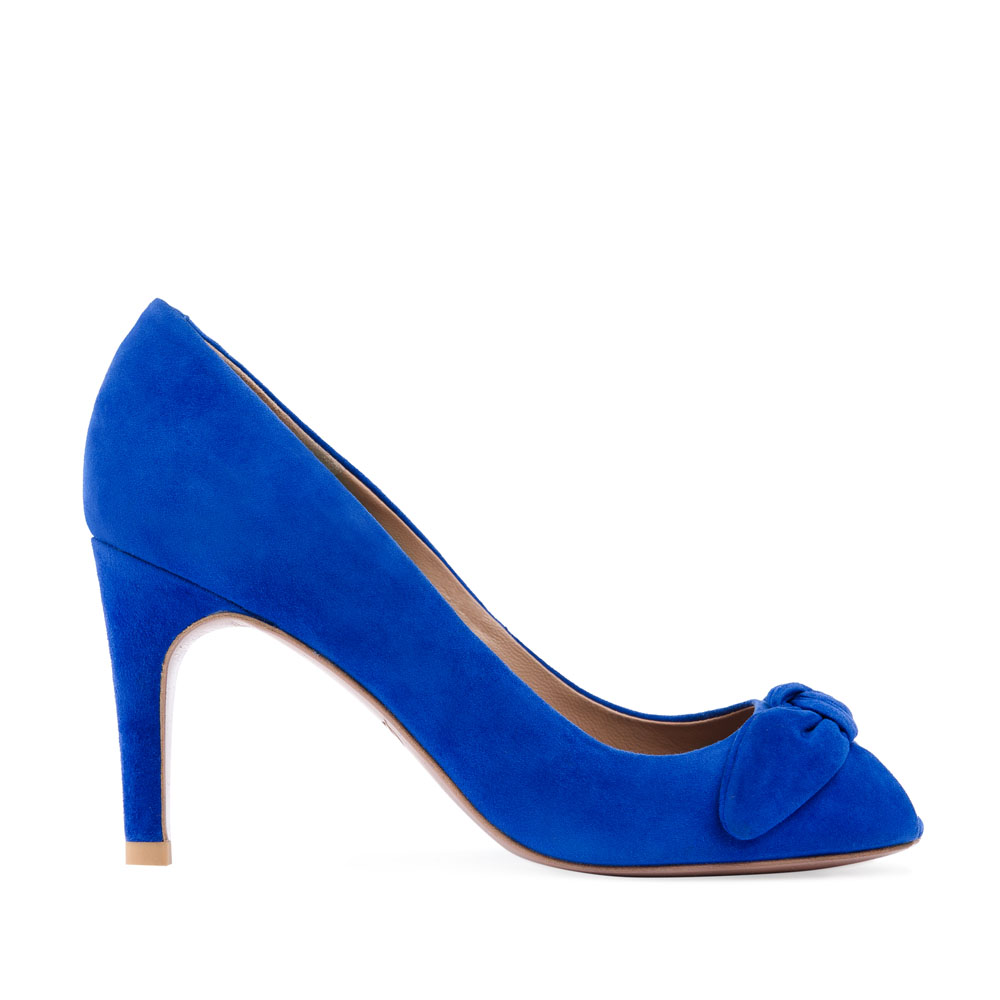 Замшевые туфли цвета электрик на среднем каблуке с бантом
