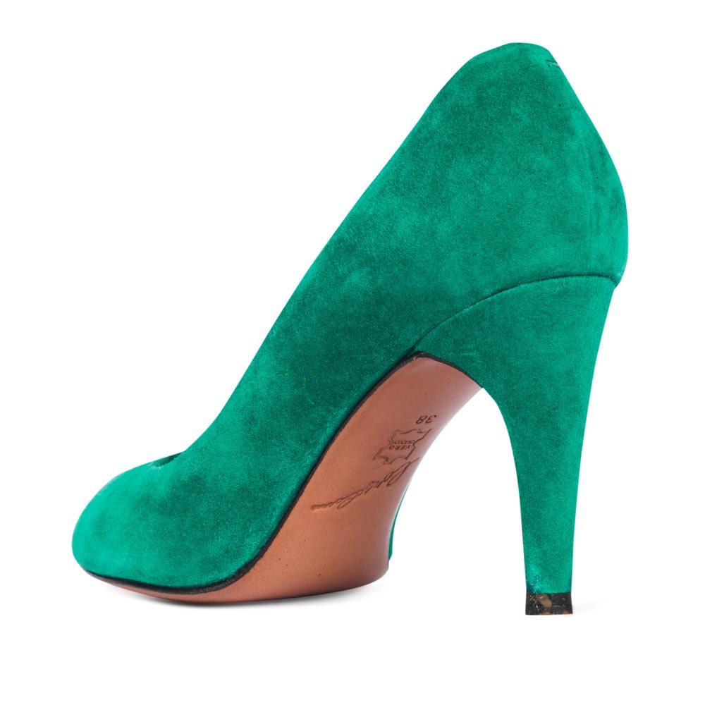 Женские туфли CorsoComo (Корсо Комо) Туфли из замши светло-изумрудного цвета на среднем каблуке