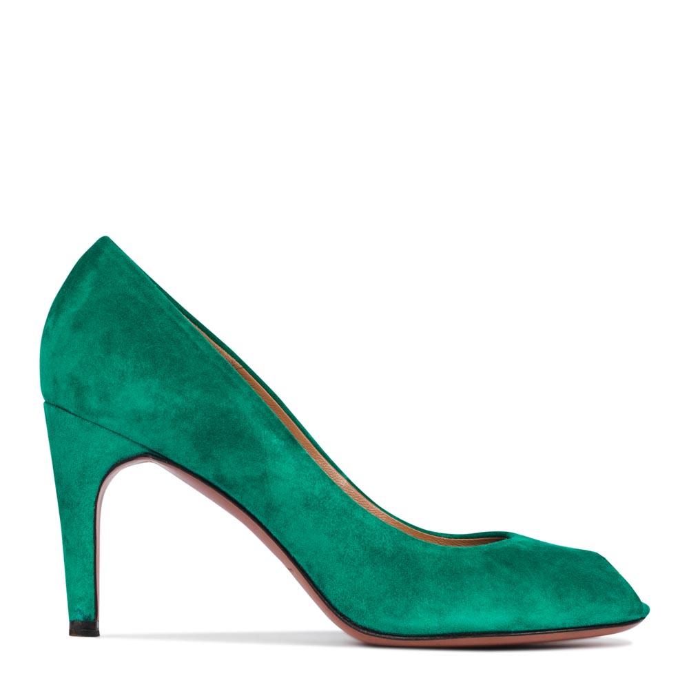 CORSOCOMO Туфли из замши светло-изумрудного цвета на среднем каблуке 19-640-3-75