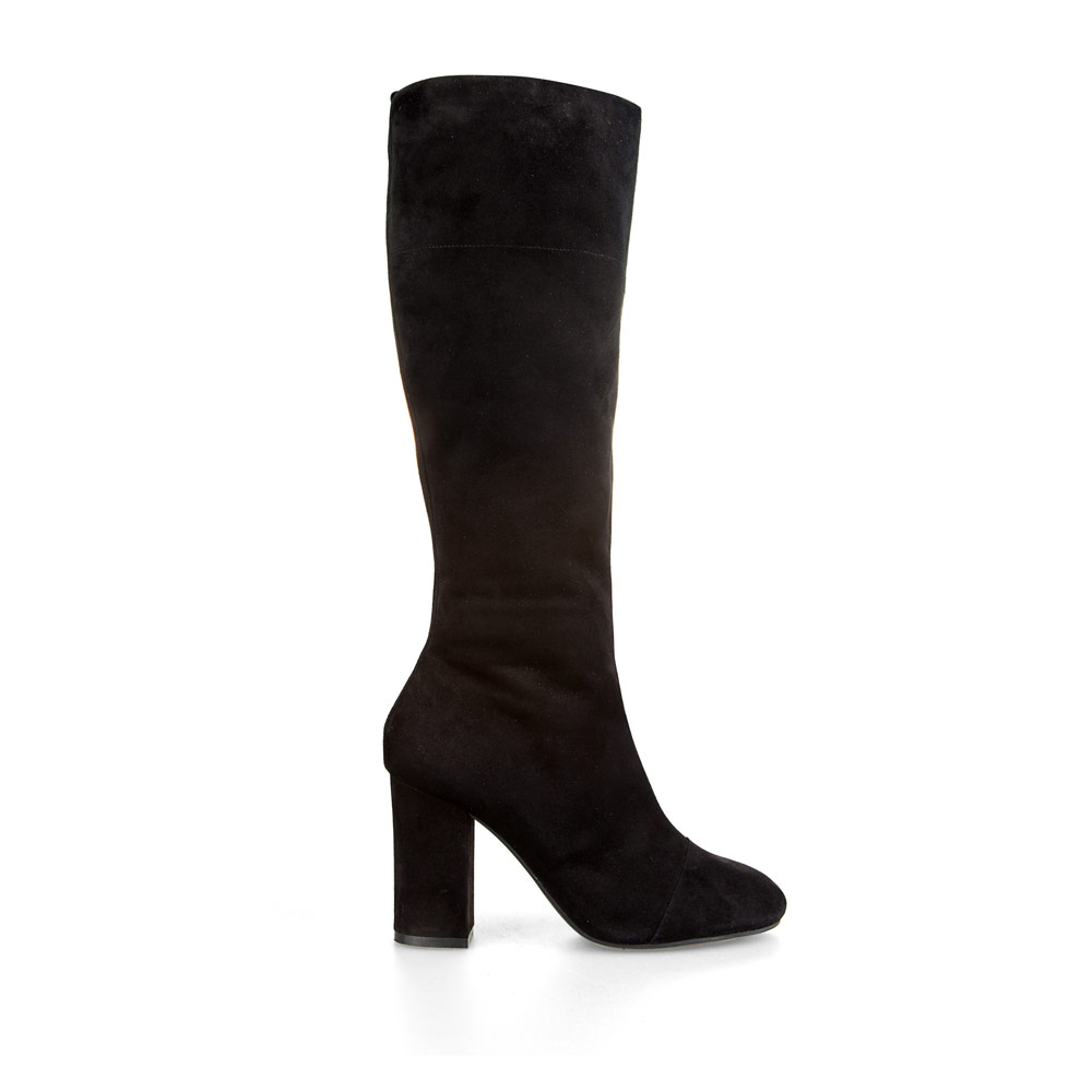 CORSOCOMO Замшевые сапоги черного цвета на широком каблуке с мехом 19-802-1503-22