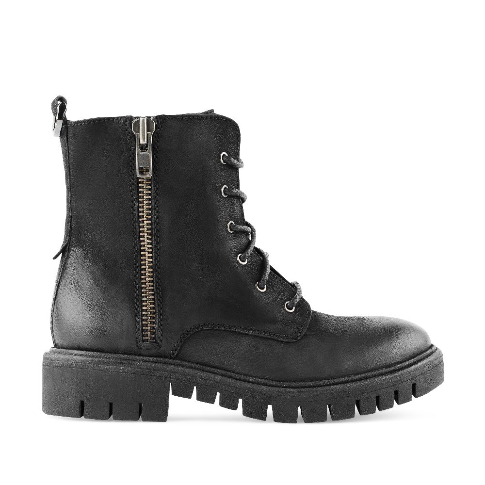 Ботинки из кожи черного цвета со шнуровкой и молнией