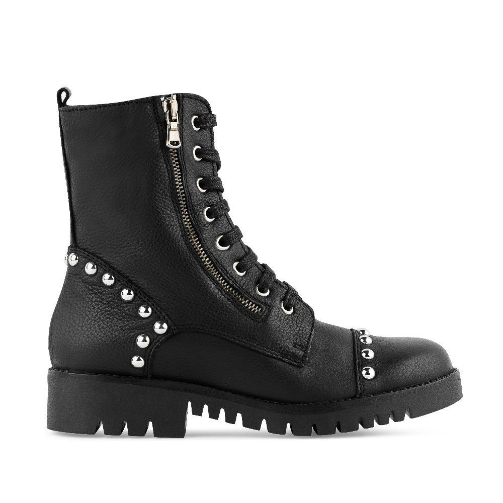 Ботинки из кожи с молниями, шнуровкой и заклепками