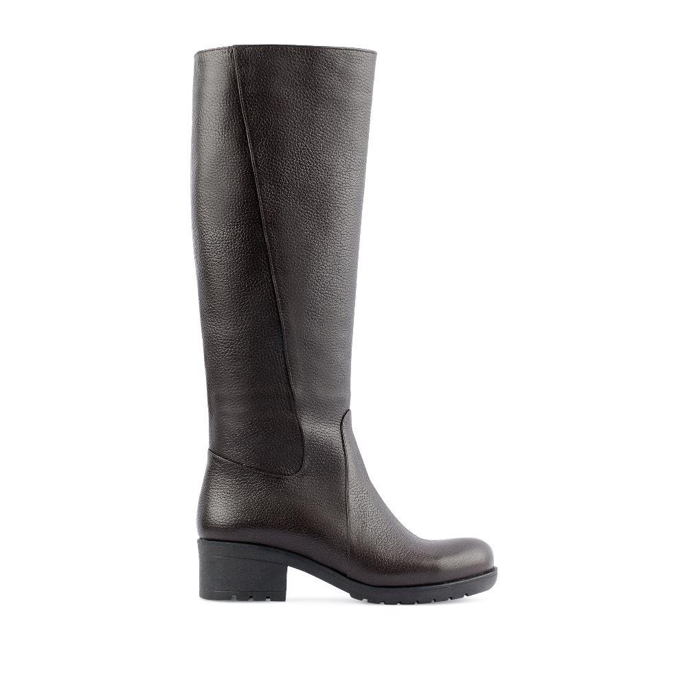 CORSOCOMO Сапоги из кожи коричневого цвета на среднем каблуке 201-14-10/34-G