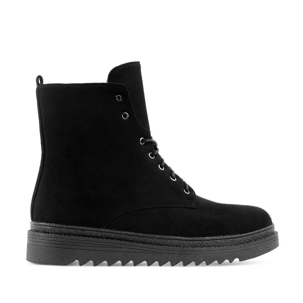 Высокие ботинки из экозамши черного цвета на шнуровке