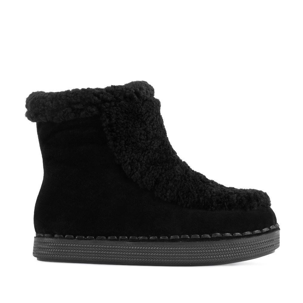 Замшевые ботинки черного цвета с мехомПолусапоги<br><br>Материал верха: Замша<br>Материал подкладки: Мех<br>Материал подошвы: Полиуретан<br>Цвет: Черный<br>Высота каблука: 0 см<br>Дизайн: Италия<br>Страна производства: Китай<br><br>Высота каблука: 0 см<br>Материал верха: Замша<br>Материал подкладки: Мех<br>Цвет: Черный<br>Пол: Женский<br>Размер: 38