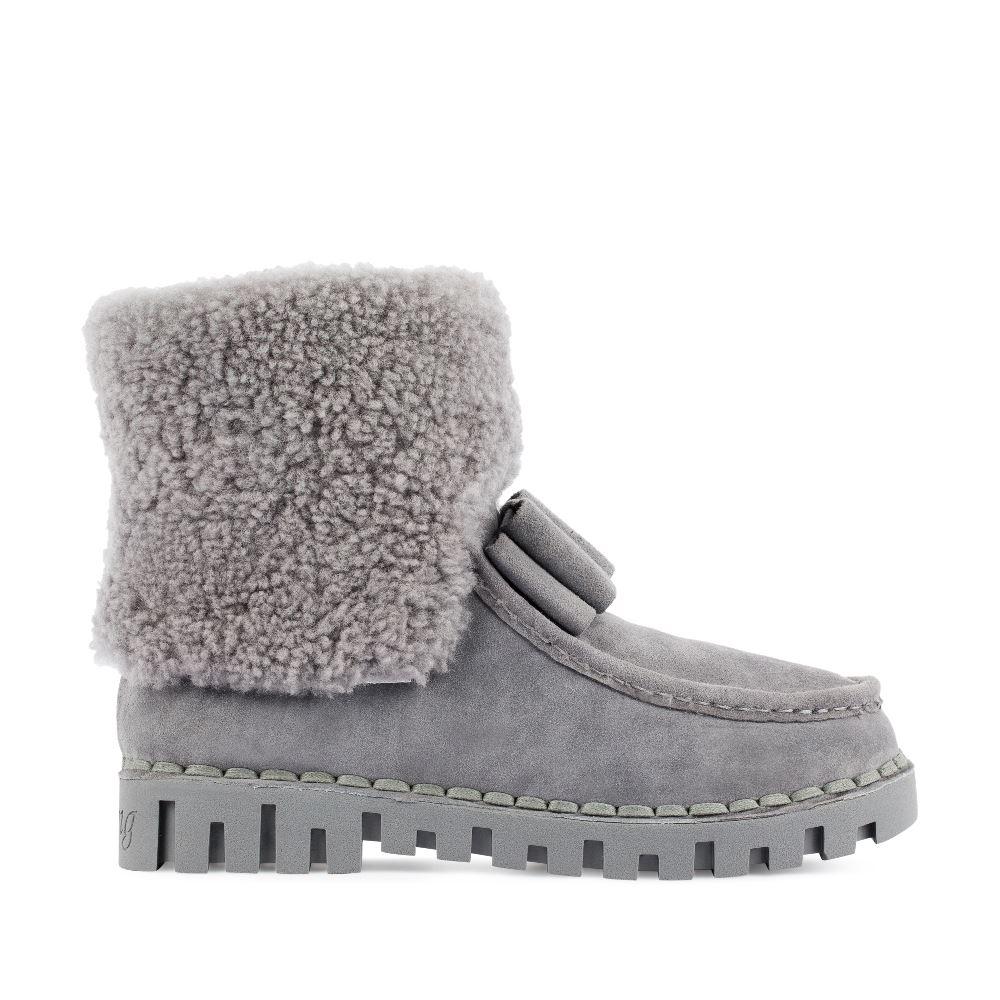 Высокие ботинки серого цвета из замши с мехом