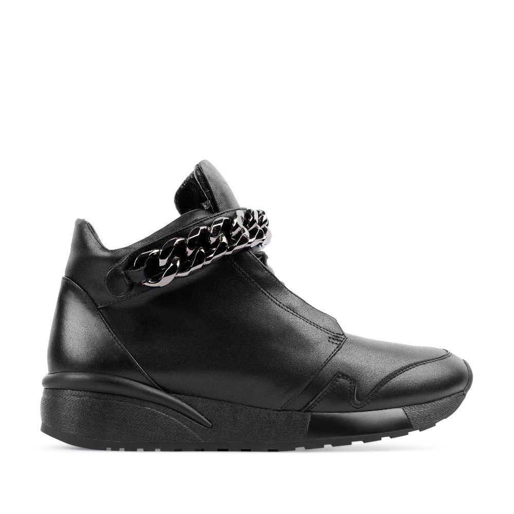 CORSOCOMO Кроссовки из кожи черного цвета с декоративной цепью 21-8-W-260-2-CO-C92