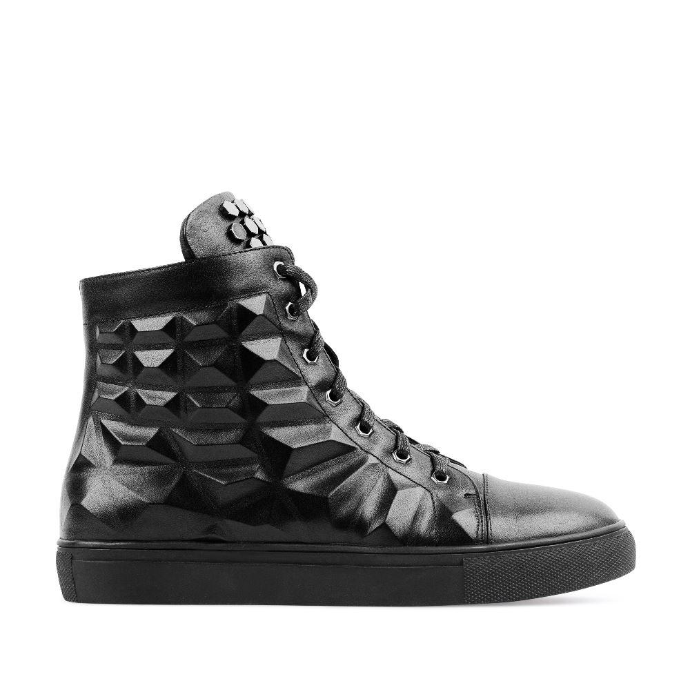 Кроссовки из кожи черного цвета с заклепками