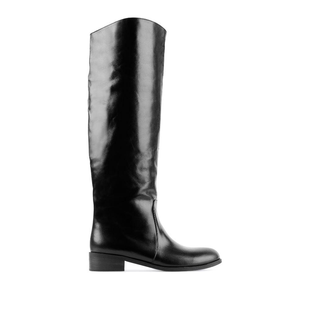 Кожаные сапоги чёрного цвета с мехомСапоги женские<br><br>Материал верха: Кожа<br>Материал подкладки: Евромех<br>Материал подошвы: Полиуретан<br>Цвет: Черный<br>Высота каблука: 5см<br>Дизайн: Италия<br>Страна производства: Китай<br><br>Высота каблука: 5 см<br>Материал верха: Кожа<br>Материал подошвы: Полиуретан<br>Материал подкладки: Евромех<br>Цвет: Черный<br>Вес кг: 1.00000000<br>Размер обуви: 40