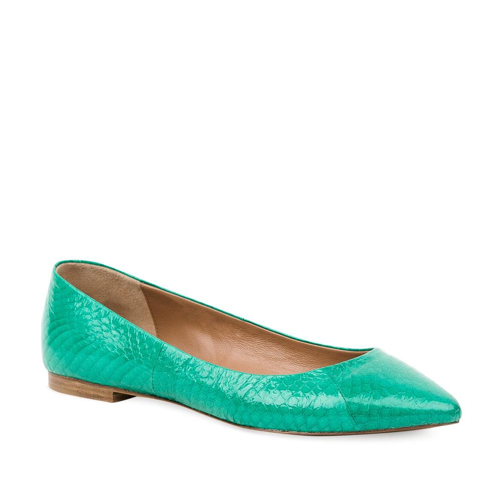 Женские балетки CorsoComo (Корсо Комо) 28-412-03-45 к.п. Туфли жен кожа зелен.