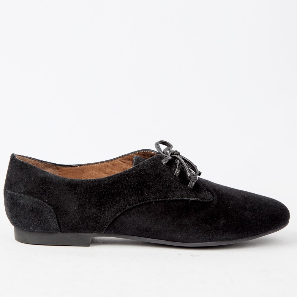 Ботинки из замши черного цвета на шнуровке без каблукаПолуботинки<br><br>Материал верха: Замша<br>Материал подкладки: Кожа<br>Материал подошвы: Кожа<br>Цвет: Черный<br>Высота каблука: 0см<br>Дизайн: Италия<br>Страна производства: Китай<br><br>Высота каблука: 0 см<br>Материал верха: Замша<br>Материал подошвы: Кожа<br>Материал подкладки: Кожа<br>Цвет: Черный<br>Пол: Женский<br>Вес кг: 520.00000000<br>Размер обуви: 36