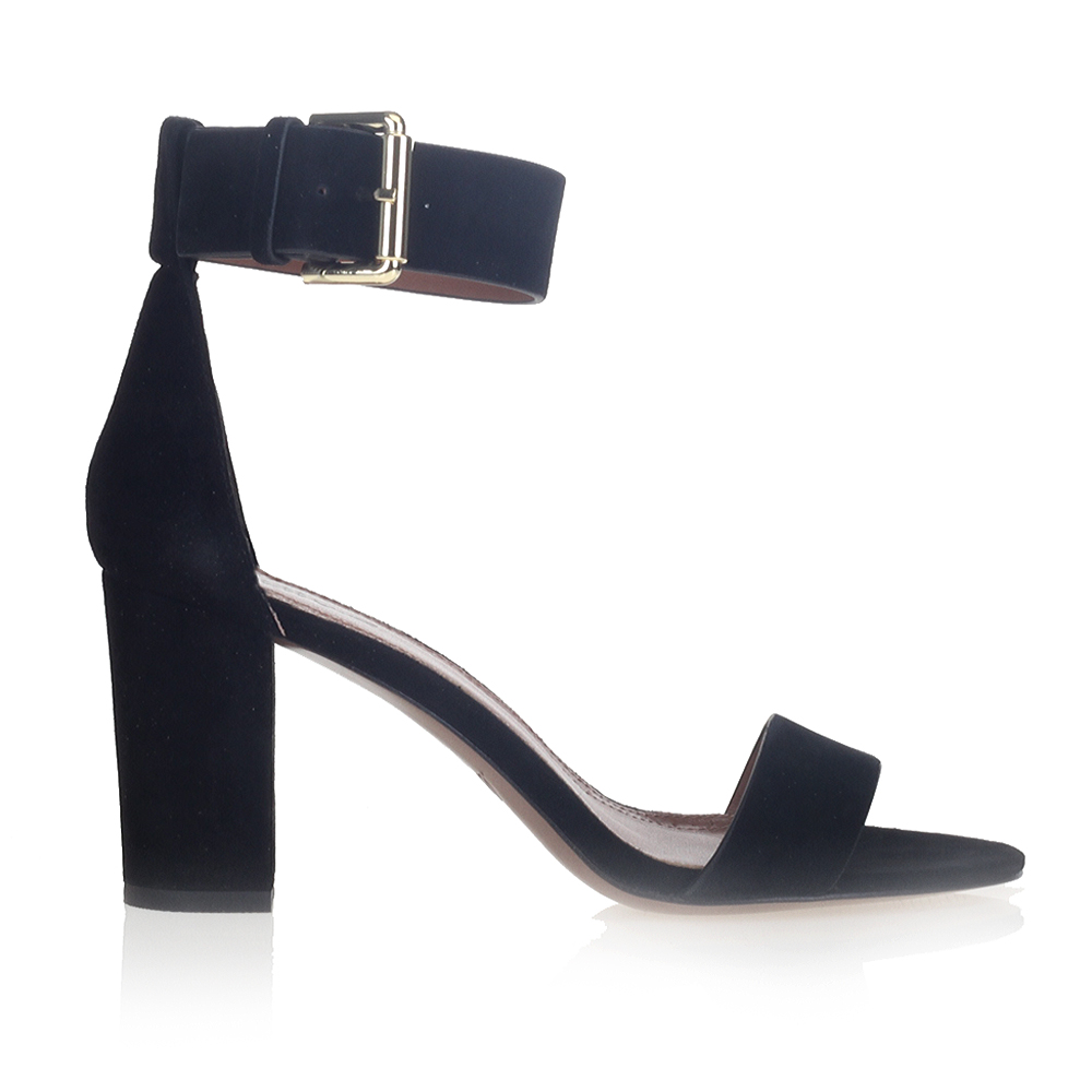 Замшевые босоножки черного цвета с широким ремешкомБосоножки женские<br><br>Материал верха: Замша<br>Материал подкладки: Кожа<br>Материал подошвы: Кожа<br>Цвет: Чёрный<br>Высота каблука: 8см<br>Дизайн: Италия<br>Страна производства: Китай<br><br>Высота каблука: 8 см<br>Материал верха: Замша<br>Материал подошвы: Кожа<br>Материал подкладки: Кожа<br>Цвет: Черный<br>Вес кг: 0.43400000<br>Размер обуви: 39*