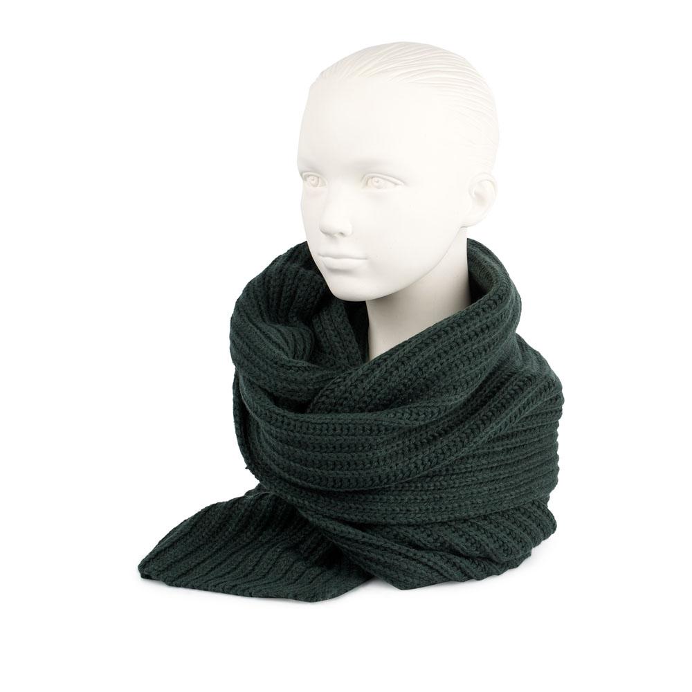 Объемный шарф из шерсти темно-зеленого цвета