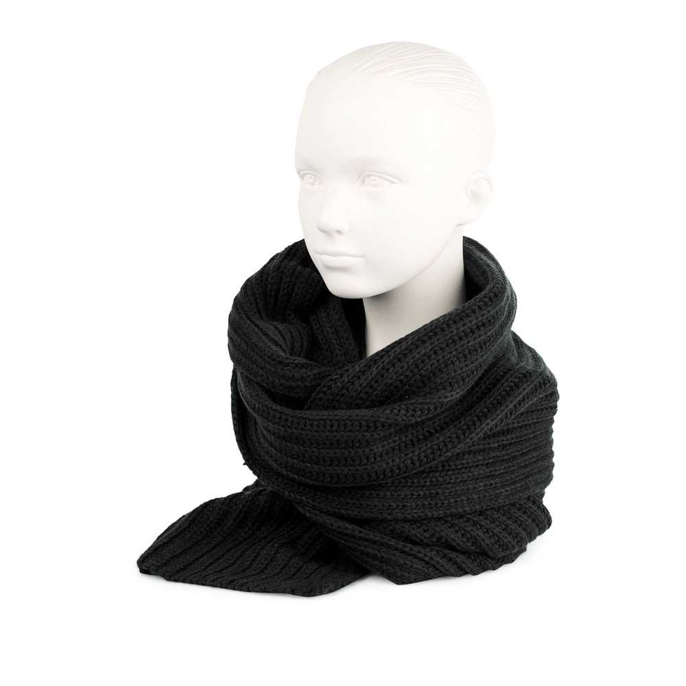Объемный шарф черного цвета из шерсти