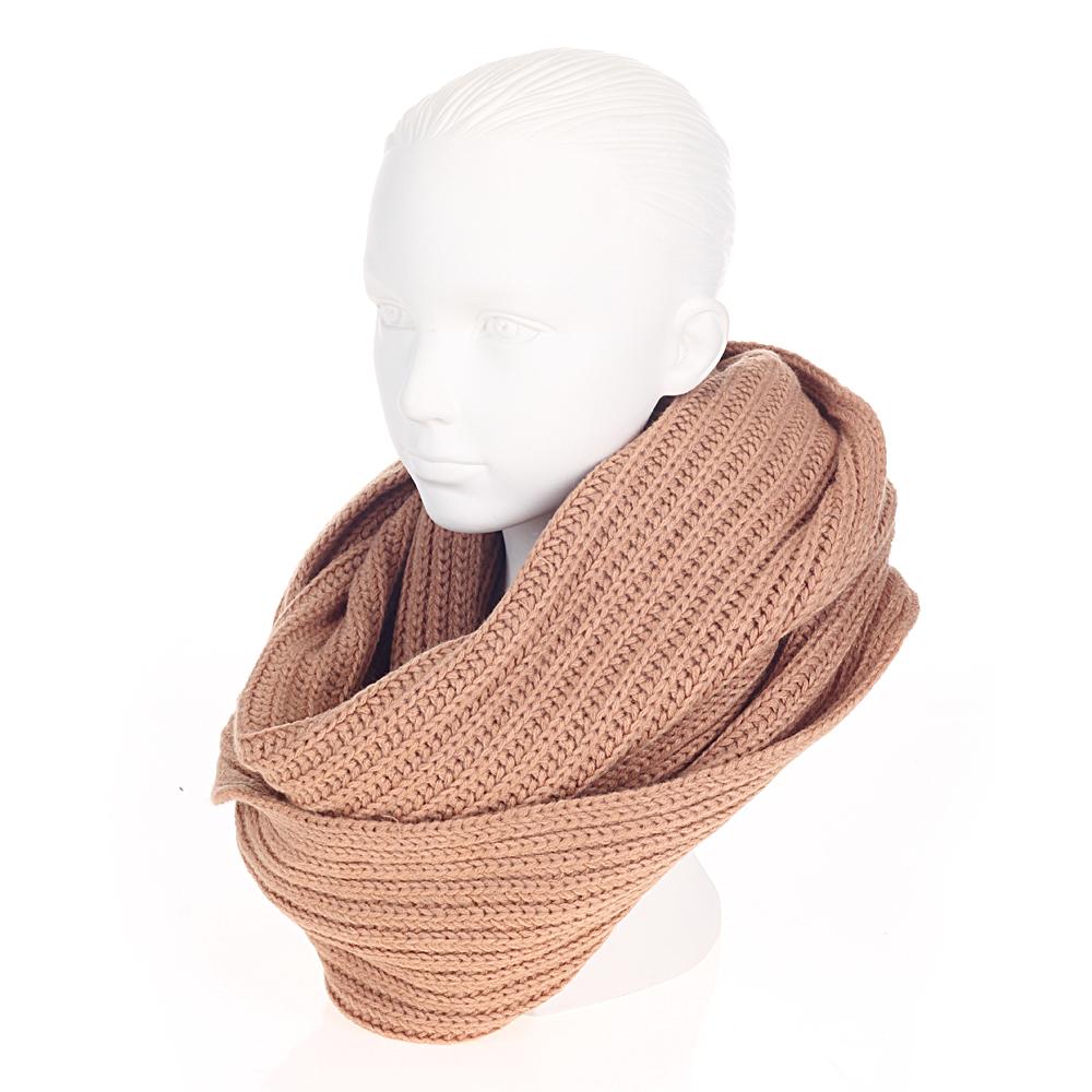 Объемный шарф из шерсти бежевого цвета