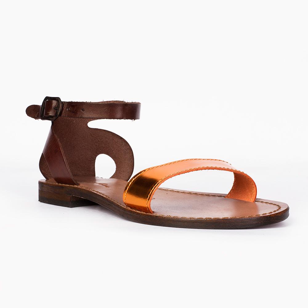 Женские сандалии CorsoComo (Корсо Комо) Кожаные сандалии с вставкой из металлизированной кожи рыжего цвета