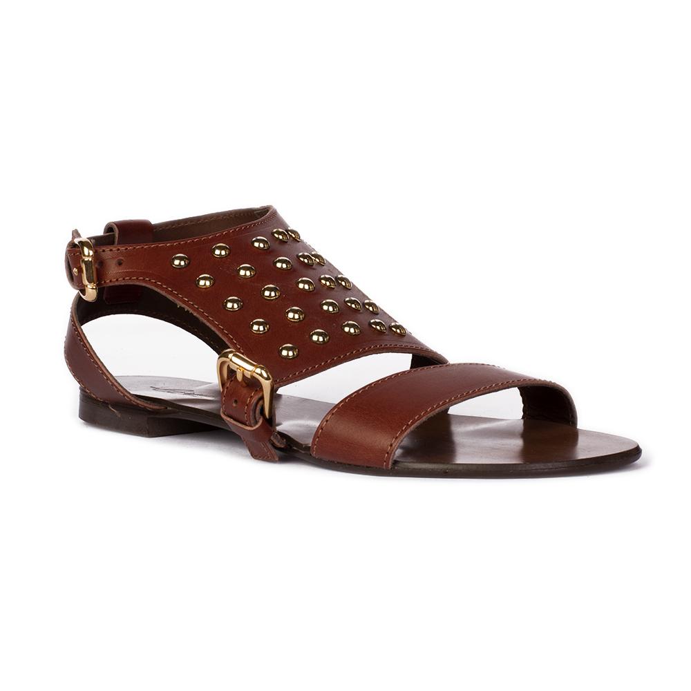 Женские сандалии CorsoComo (Корсо Комо) Кожаные сандалии шоколадного цвета с заклепками