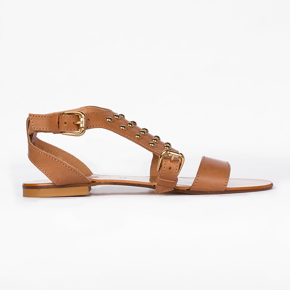 CORSOCOMO Кожаные сандалии карамельного цвета с заклепками 36-6373-6