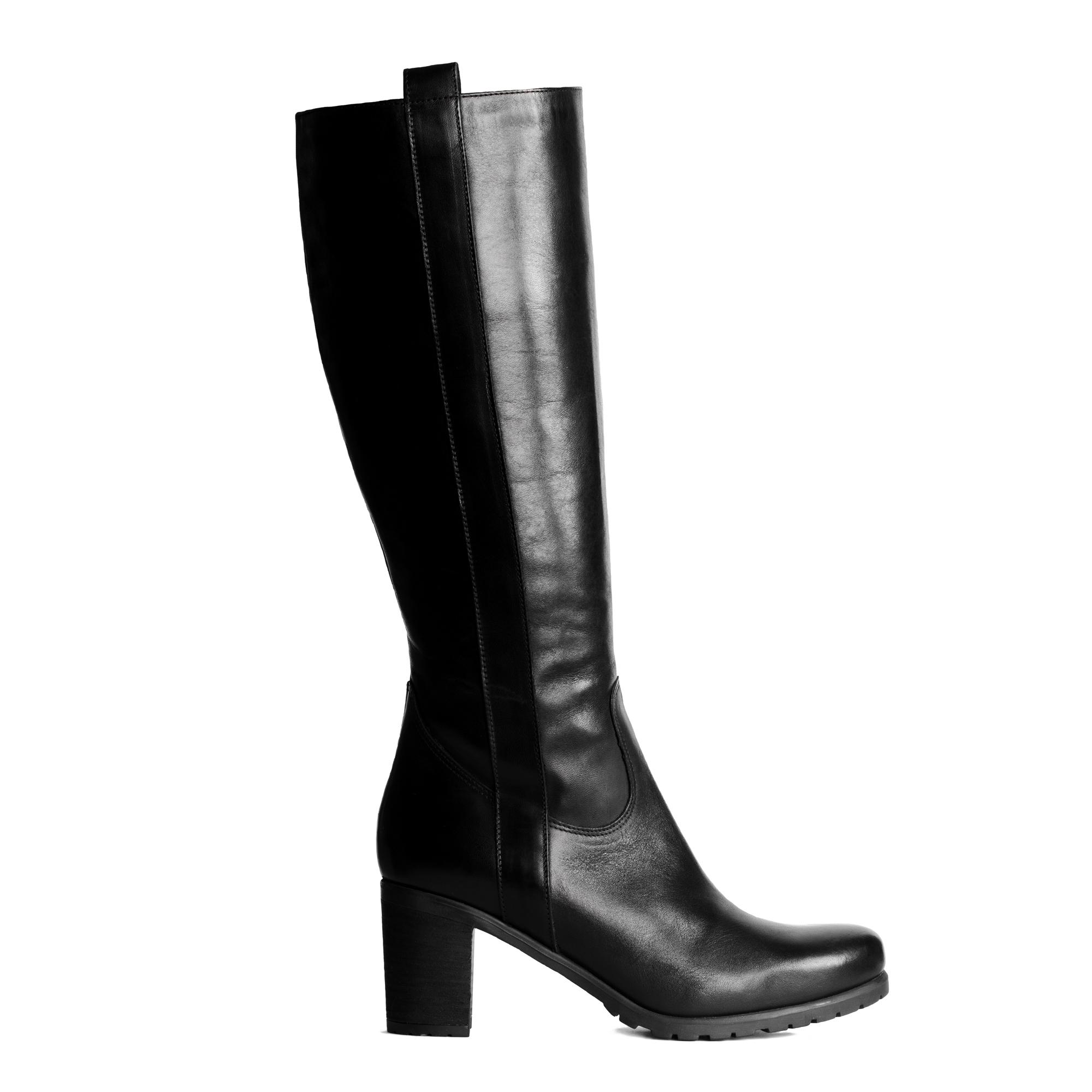 Кожаные сапоги черного цвета на среднем широком каблуке, Черный