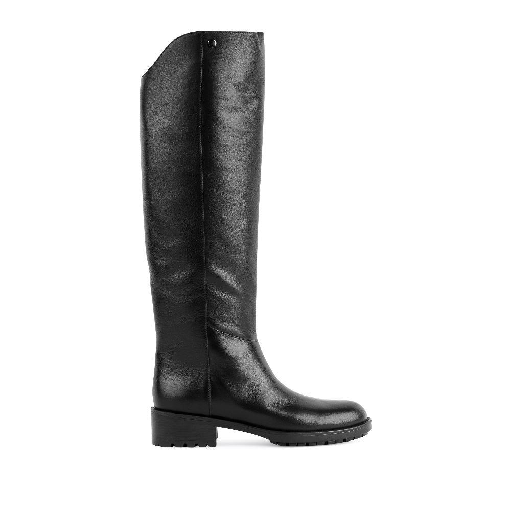 Сапоги на каблуке CorsoComo (Корсо Комо) 4215-705-912ботфорты кожа гладкая черная байка